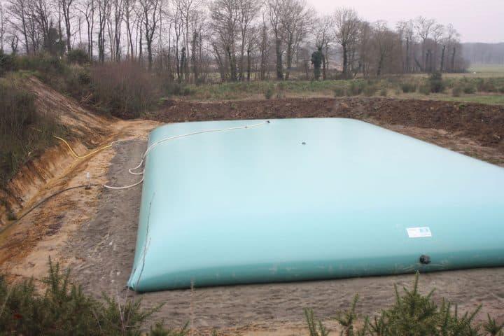Récupération d'eau des pluies avec des citernes souples